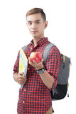 Asian student standing on white with books and apple. Back to sc Stock Photo