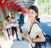 Asian student in university play. Walk and talk togater on the walkway, student, education, university concept stock images