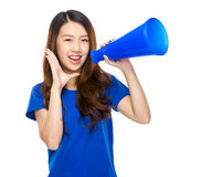 Asian student yell with megaphone. Isolated on white background Royalty Free Stock Images