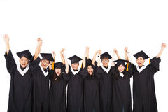 asian Students Celebrating Graduation Stock Photography