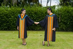Asian students on their graduation day Royalty Free Stock Photos