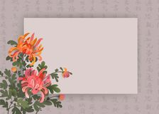 Asian style background with chrysanthemum flowers and chinese calligraphy. Elegant design template with space for your text vector illustration