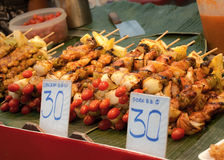 Asian style barbecue stick food Royalty Free Stock Photography