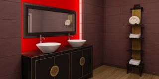 Asian style bathroom interior Stock Photos