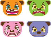 Asian style bear faces vector Royalty Free Stock Photo