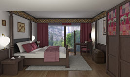 Asian style bedroom vector illustration