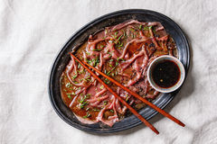Asian style Beef carpaccio Royalty Free Stock Image