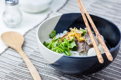 Asian style beef noodles in soup Stock Image