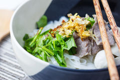 Asian style beef noodles in soup Stock Photography