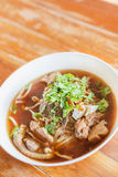 Asian style beef noodles in soup. Thai Food. Stock Photo