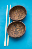 Asian Style bowls and chopsticks Stock Photo