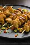 Asian style chicken breasts yakitori. Grilled on bamboo skewers Royalty Free Stock Image