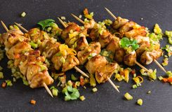 Asian style chicken breasts yakitori. Grilled on bamboo skewers Royalty Free Stock Photos