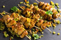 Asian style chicken breasts yakitori. Grilled on bamboo skewers Stock Image
