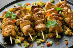Asian style chicken breasts yakitori. Grilled on bamboo skewers Stock Images