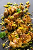 Asian style chicken breasts yakitori. Grilled on bamboo skewers Royalty Free Stock Photo
