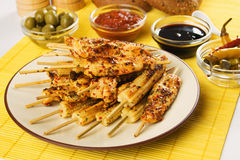 Asian style chicken meat and baby corn skewer Stock Image