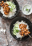 Asian style chicken skewers and rice. Healthy diet food concept. Top view royalty free stock photography