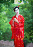 Asian style female portrait. Outside portrait of a woman in geisha makeup stock image