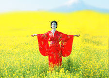 Asian style female portrait. Portrait of a woman in geisha makeup with a mountain in the backgroundn stock image