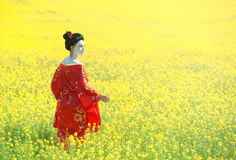 Asian style female portrait. Portrait of a woman in geisha makeup walking in the fields stock images