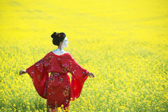 Asian style female portrait. Portrait of a woman in geisha makeup walking in the fields stock photo