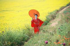 Asian style female portrait. Portrait of a woman in geisha makeup walking in the fields royalty free stock images