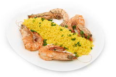 Asian style of fried rice and shrimps Stock Images