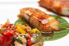 Asian style fried seafood on plate Royalty Free Stock Photography