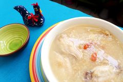 Asian style ginseng chicken rice porridge Royalty Free Stock Images