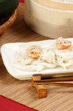 Asian style grilled shrimps with noodle Royalty Free Stock Image