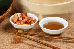 Asian style grilled shrimps and sauce Stock Photography