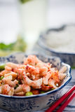 Asian style healthy salad. With crayfish and edamame Royalty Free Stock Photo