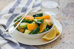 Asian style healthy spinach, avocado and orange salad with ginger-vinegar dressing, copy space Stock Photography