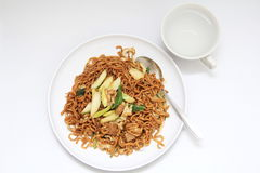 asian style healty fried noodle on a white plate Royalty Free Stock Photo