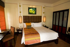 Asian style hotel room at boutique spa resort Royalty Free Stock Images