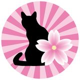 Asian style illustration with a cat and a flower vector illustration