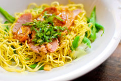 Asian style noodle. With pork and vegetables royalty free stock photo
