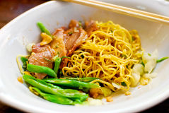 Asian style noodle. With pork and vegetables stock photo