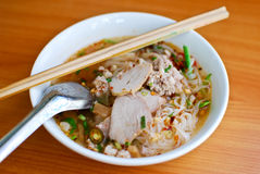 Asian style noodle. With pork , spicy and yummy delicious stock photos