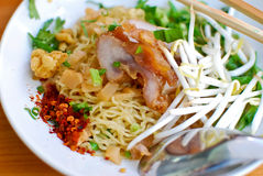 Asian style noodle. With pork , spicy and yummy delicious stock image