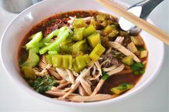 Asian style noodle with chicken Stock Photo