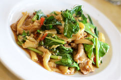 Asian style noodle with pork and vegetables Stock Photo