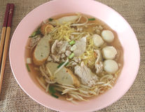 Asian style noodle with variety of pork Stock Image