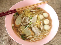 Asian style noodle with variety of pork Royalty Free Stock Images