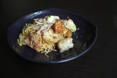 Asian style noodle with variety of pork and fish balls. Thai Food stock photography
