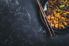 Asian style noodles. Asian soba noodles, chicken, vegetables, dark background. Space for text. Soba noodles, teriyaki sauce chicken, vegetables, sesame royalty free stock image