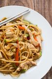 Asian style noodles. With chicken vegetables and tofu Royalty Free Stock Photography