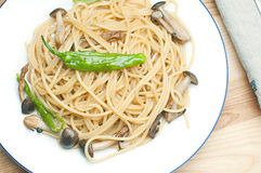 Asian style pasta. Pasta with mushrooms and green pepper Stock Photography