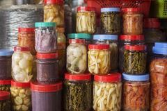 Asian style pickles in kep market cambodia. Asian style mixed vegetable and seafood pickles in kep market cambodia Stock Photo